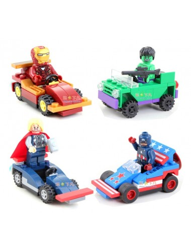 Marvel Heroes LEGO with Vehicles - Ironman, Hulk, Thor, Captain America