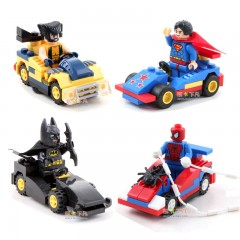 Marvel & DC Heroes LEGO with Vehicles - Wolverine, Superman, Batman, Spiderman
